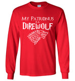 Game Of Thrones , Harry Potter My Patronus is a Direwolf , Gildan Long Sleeve T-Shirt