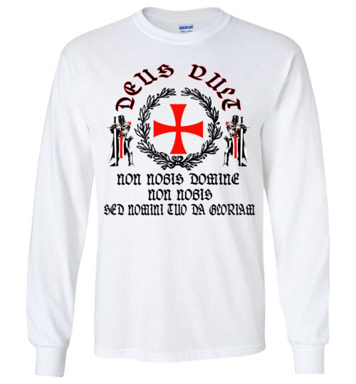 Knights Templar - Deus Vult shirt ,v1, Gildan Long Sleeve T-Shirt