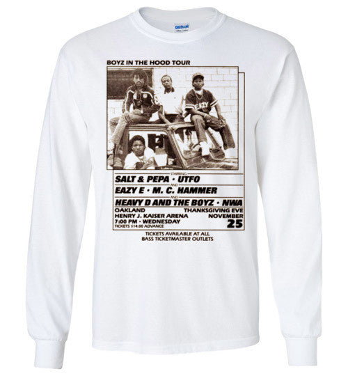 NWA Boyz In The Hood Tour Poster Eazy E MC Hammer UTFO v9, Gildan Long Sleeve T-Shirt