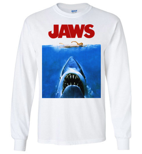 JAWS Movie Steven Spielberg,Shark,Beach,Surfing,v1,Gildan Long Sleeve T-Shirt