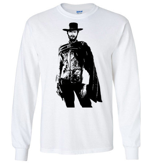 Clint Eastwood - The Man with No Name , v1 , Gildan Long Sleeve T-Shirt