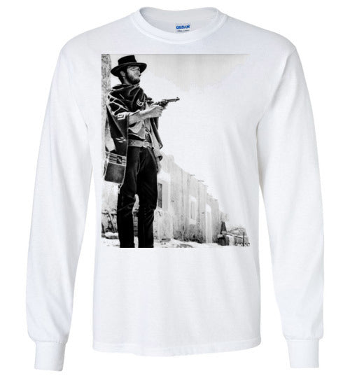 A Fistful of Dollars,Clint Eastwood,Sergio Leone, Spaghetti Western,The Good, the Bad and the Ugly,The Man with No Name,Ennio Morricone,v2,Gildan Long Sleeve T-Shirt