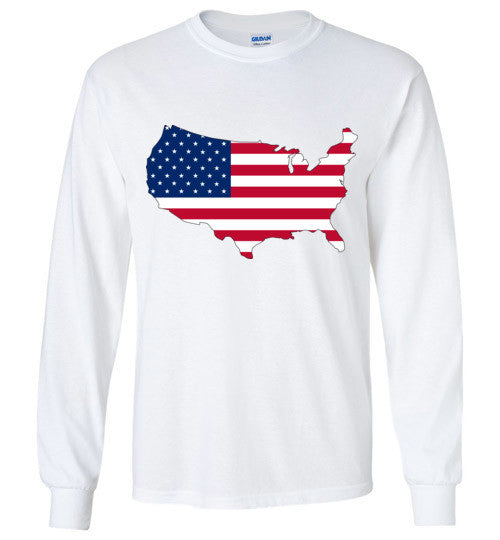 USA Flag 4th Of July Independence Day America Vintage American Flag v3 , Gildan Long Sleeve T-Shirt