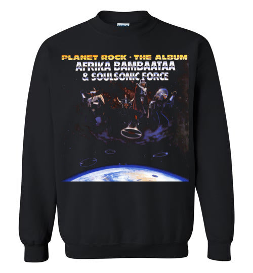 Afrika Bambaataa & Soulsonic Force , New York, Electro Funk,Universal Zulu Nation,Old School Hip Hop,Planet Rock, v4, Gildan Crewneck Sweatshirt