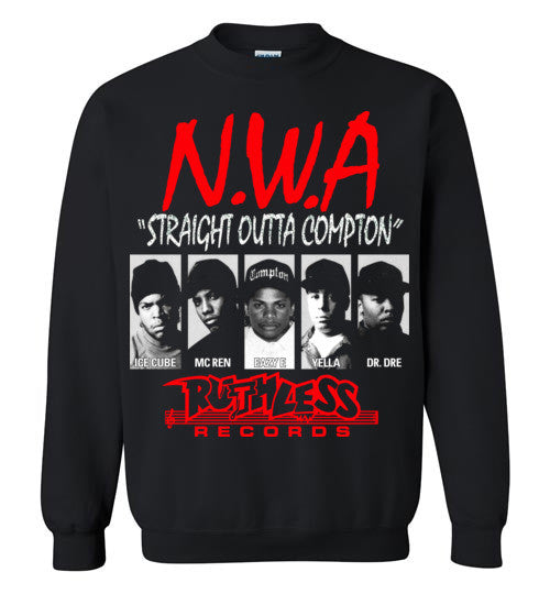 NWA Straight Outta Compton Ruthless Records Eazy E Dr Dre Ice Cube v8 , Gildan Crewneck Sweatshirt