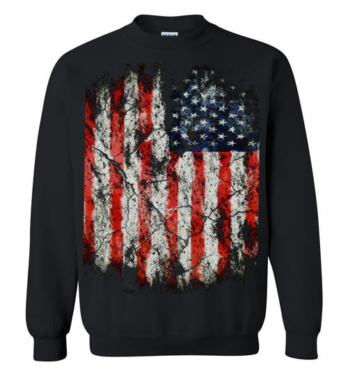 USA Flag Distressed 4th Of July Independence Day America Vintage American Flag v2, Gildan Crewneck Sweatshirt