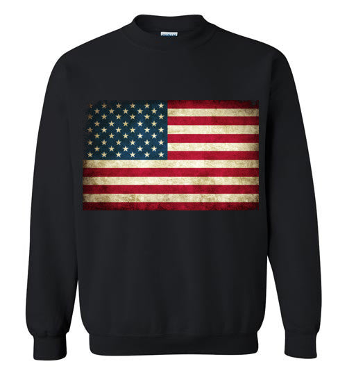 USA Flag Distressed 4th Of July Independence Day America Vintage American Flag v4 , Gildan Crewneck Sweatshirt