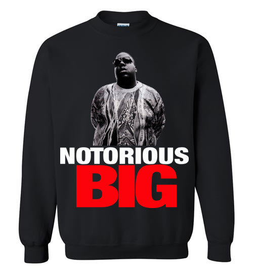 Notorious BIG Biggie Smalls Big Poppa Frank White Christopher Wallace,Bad Boy Records, Hip Hop New York Brooklyn,v10, Gildan Crewneck Sweatshirt