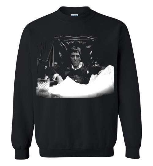 Tony Montana Scarface Al Pacino Gangster Movie 80's ,v12,Gildan Crewneck Sweatshirt