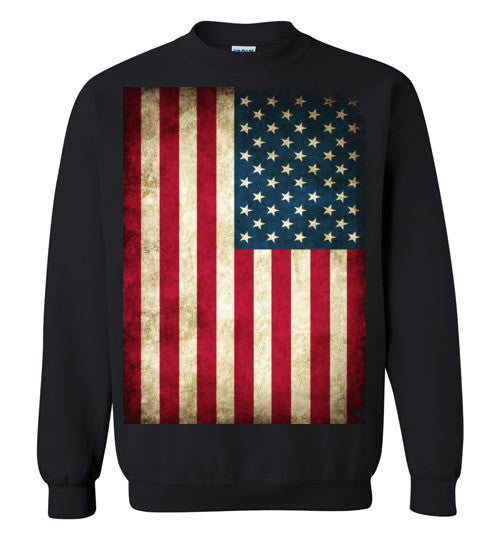 USA Flag Distressed 4th Of July Independence Day America Vintage American Flag v4b , Gildan Crewneck Sweatshirt
