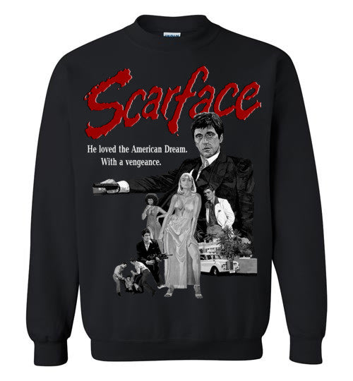 Tony Montana Scarface Al Pacino Gangster Movie  v6 , Gildan Crewneck Sweatshirt