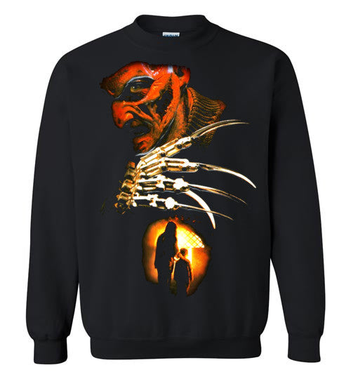 Nightmare on Elm Street Freddy Krueger Horror Movie , v6, Gildan Crewneck Sweatshirt