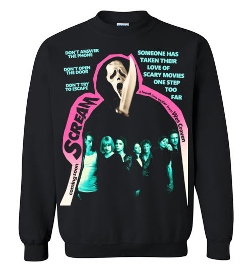 Scream scary movies, masks, thriller, wes craven, halloween, horror, 90s movies,ghostface,drew barrymore,v2, Gildan Crewneck Sweatshirt