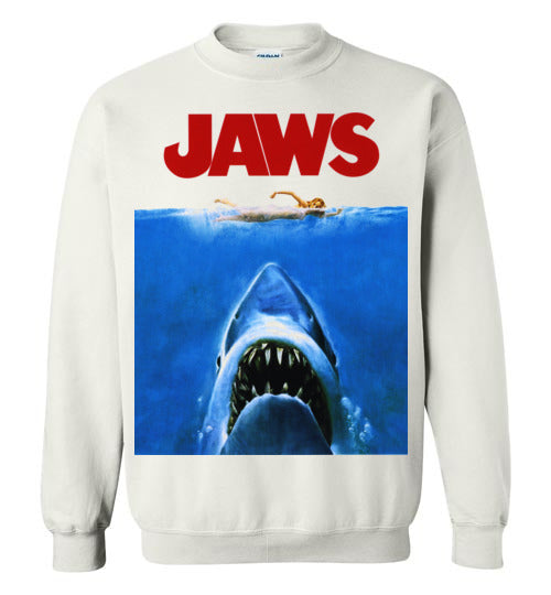 JAWS Movie Steven Spielberg,Shark,Beach,Surfing,v1,Gildan Crewneck Sweatshirt