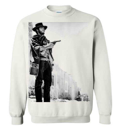 A Fistful of Dollars,Clint Eastwood,Sergio Leone, Spaghetti Western,The Good, the Bad and the Ugly,The Man with No Name,Ennio Morricone,v2,Gildan Crewneck Sweatshirt
