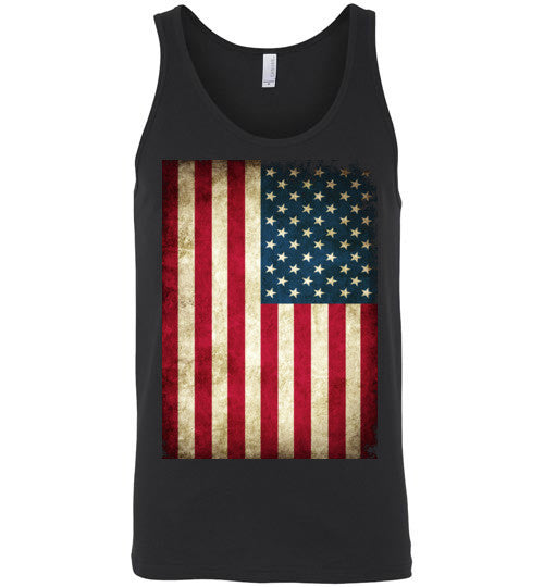 USA Flag Distressed 4th Of July Independence Day America Vintage American Flag v4b , Canvas Unisex Tank