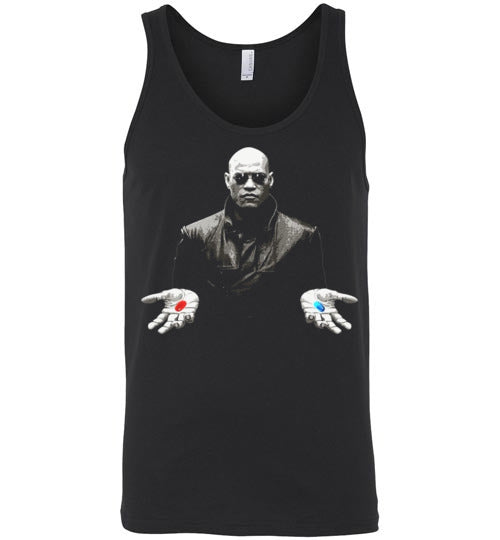 matrix morpheus red or blue pill,Canvas Unisex Tank