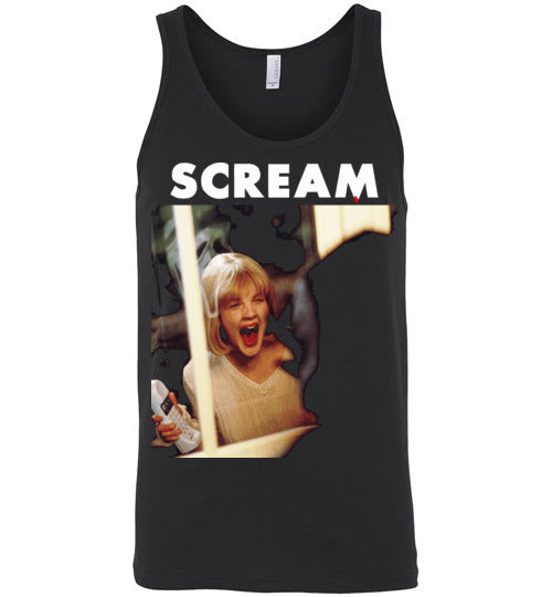 Scream scary movies, masks, thriller, wes craven, halloween, horror, 90s  movies,ghostface,drew barrymore, v6, Canvas Unisex Tank