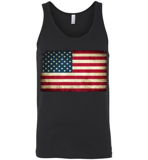 USA Flag Distressed 4th Of July Independence Day America Vintage American Flag v4 , Canvas Unisex Tank