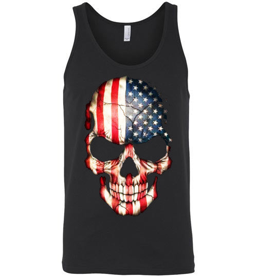 American Skull Flag USA 4th Of July independence day v1, Canvas Unisex Tank