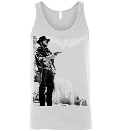 A Fistful of Dollars,Clint Eastwood,Sergio Leone, Spaghetti Western,The Good, the Bad and the Ugly,The Man with No Name,Ennio Morricone,v2,Canvas Unisex Tank