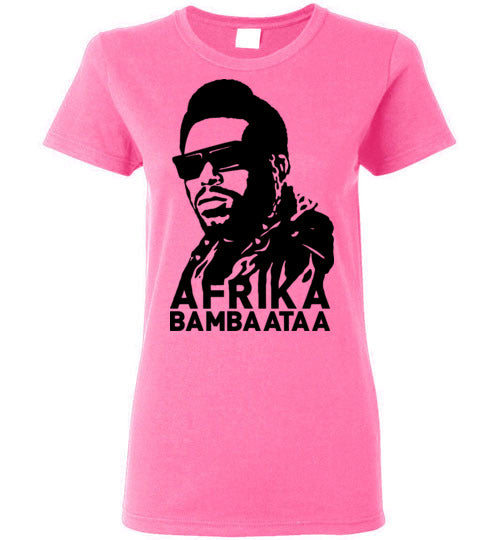 Afrika Bambaataa ,South Bronx, New York, Electro Funk,Universal Zulu Nation,Old School Hip Hop,Planet Rock,v2, Gildan Ladies Tee
