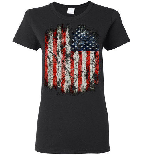 USA Flag Distressed 4th Of July Independence Day America Vintage American Flag v2, Gildan Ladies T-Shirt