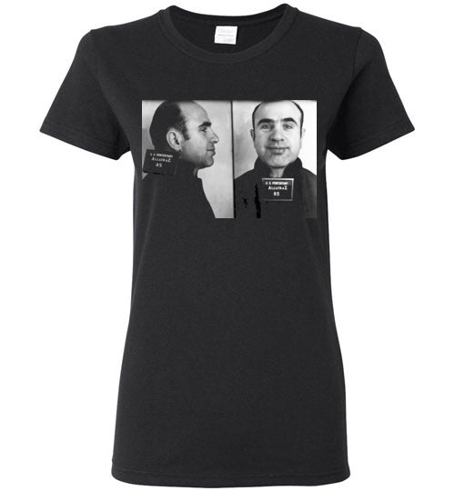 Al Capone Alcatraz Mugshot 1934 ,Scarface, Big Al, Big Boy, Public Enemy No. 1 , Chicago, Gangster, v1, Gildan Ladies Tee