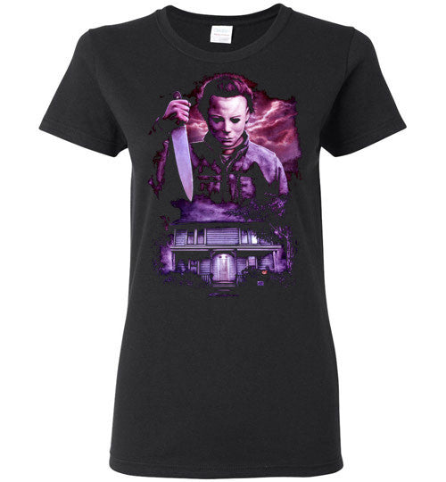HALLOWEEN MICHAEL MYERS John Carpenter Classic Horror Movie v6, Gildan Ladies T-Shirt