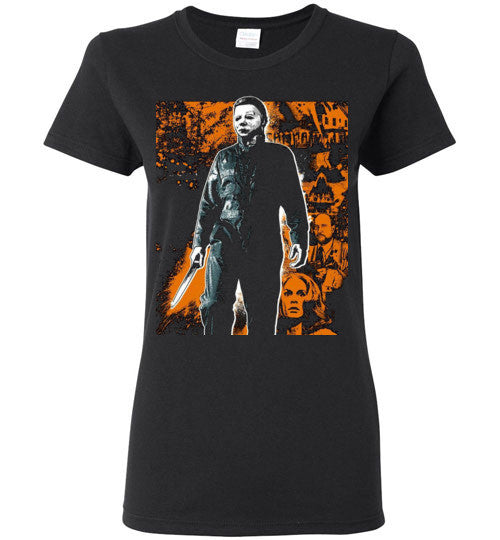 HALLOWEEN MICHAEL MYERS John Carpenter Classic Horror Movie v1, Gildan Ladies T-Shirt