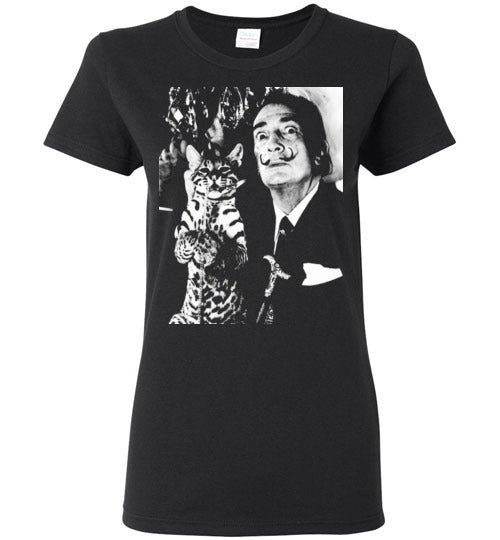 Salvador Dali Cat Ocelot,Ladies Tee