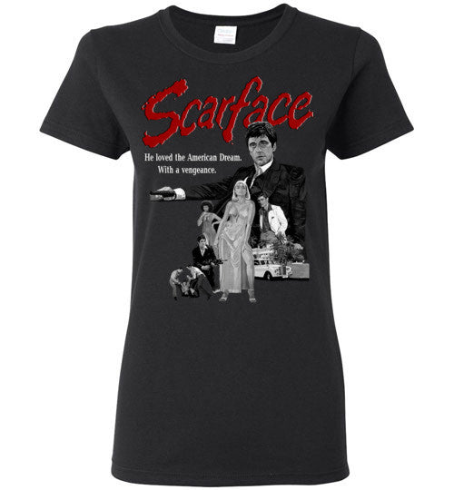 Tony Montana Scarface Al Pacino Gangster Movie  v6 , Gildan Ladies T-shirt