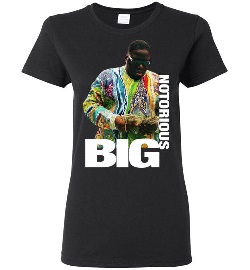 Notorious BIG Biggie Smalls Big Poppa Frank White Christopher Wallace,Bad Boy Records, Hip Hop New York Brooklyn,v8b, Gildan Ladies T-Shirt