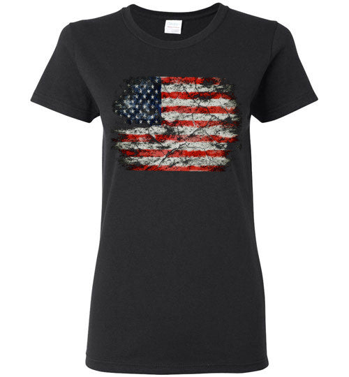 USA Flag Distressed 4th Of July Independence Day America Vintage American Flag v2b , Gildan Ladies T-Shirt