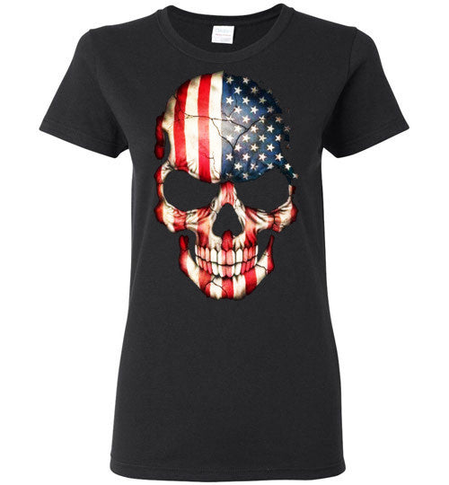 American Skull Flag USA 4th Of July independence day v1, Gildan Ladies T-Shirt