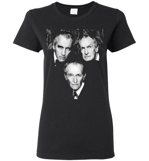 Christopher Lee Vincent Price and Peter Cushing Dracula Vampire Cult Movie Horror Classic , Gildan Ladies T-Shirt