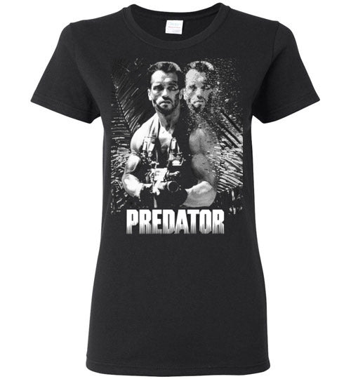 Predator, Arnold Schwarzenegger,cult classic,movie,v2,Gildan Ladies Shirt