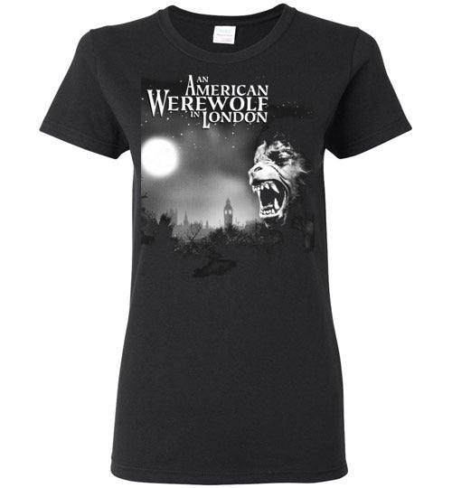 An American Werewolf in London,1981 horror comedy,horror movie classic,v1,Gildan Ladies t-shirt