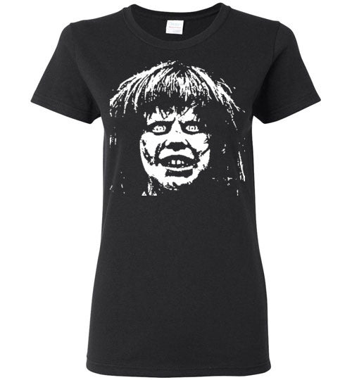 The Exorcist Linda Blair Classic Horror Movie Occult Supernatural Demons Satan ,v2, Gildan Ladies Shirt