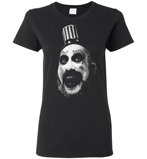 House of 1000 Corpses, Rob Zombie,Captain Spaulding, Classic Horror Film,v1,Gildan Ladies Shirt
