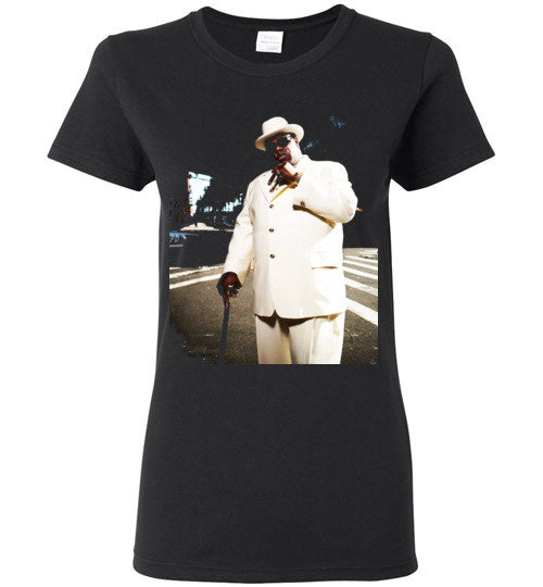 Notorious BIG Biggie Smalls Big Poppa Frank White Christopher Wallace,Bad Boy Records, Hip Hop New York Brooklyn,v7, Gildan Ladies T-Shirt