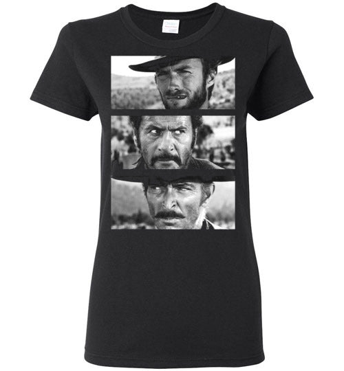 Clint Eastwood,Sergio Leone, Spaghetti Western,The Good, the Bad and the Ugly,v4,Gildan Ladies T-Shirt