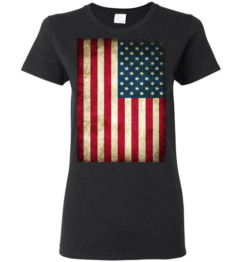 USA Flag Distressed 4th Of July Independence Day America Vintage American Flag v4b , Gildan Ladies T-Shirt