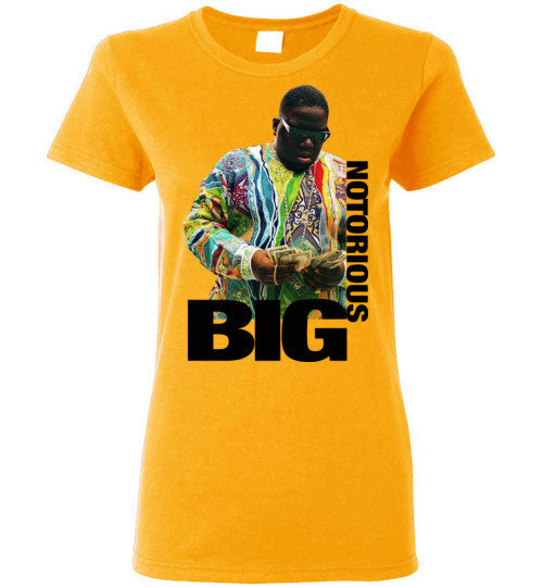 Notorious BIG Biggie Smalls Big Poppa Frank White Christopher Wallace,Bad Boy Records, Hip Hop New York Brooklyn,v8a, Gildan Ladies T-Shirt
