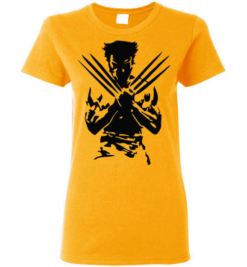 Logan Wolverine Xmen Marvel Super Hero v1, Gildan Ladies T-shirt