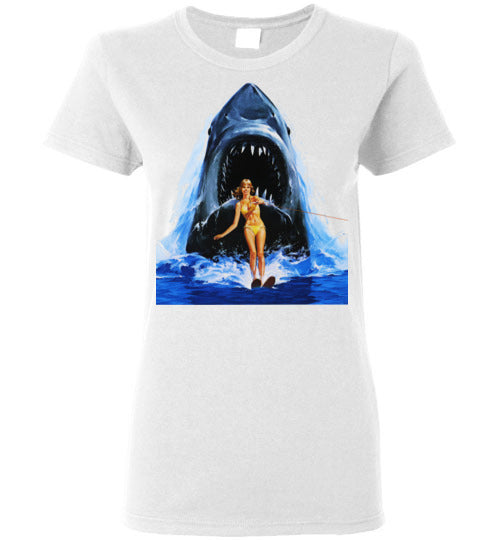 JAWS Movie Steven Spielberg,Shark,Beach,Surfing,v2, Gildan Ladies Shirt