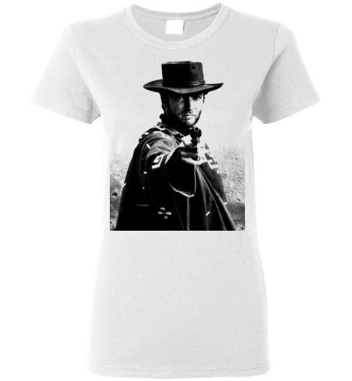 A Fistful of Dollars,Clint Eastwood,Sergio Leone, Spaghetti Western,The Good, the Bad and the Ugly,The Man with No Name,Ennio Morricone,v2,Gildan Ladies T-shirt