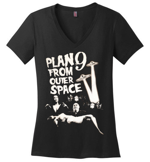 Plan 9 from Outer Space Horror Movie Ed Wood ,Vampira ,Tor Johson , District Made Ladies Perfect Weight V-Neck