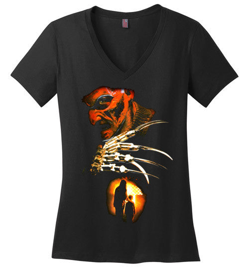 Nightmare on Elm Street Freddy Krueger Horror Movie , v6, District Made Ladies Perfect Weight V-Neck