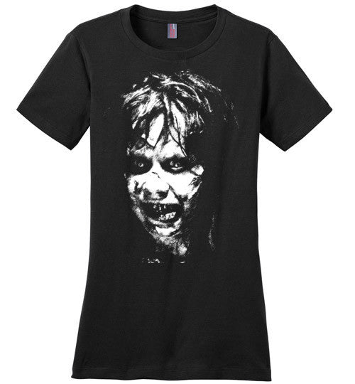 The Exorcist Linda Blair Classic Horror Movie Occult Supernatural Demons Satan,v3, District Made Ladies Perfect Weight Tee